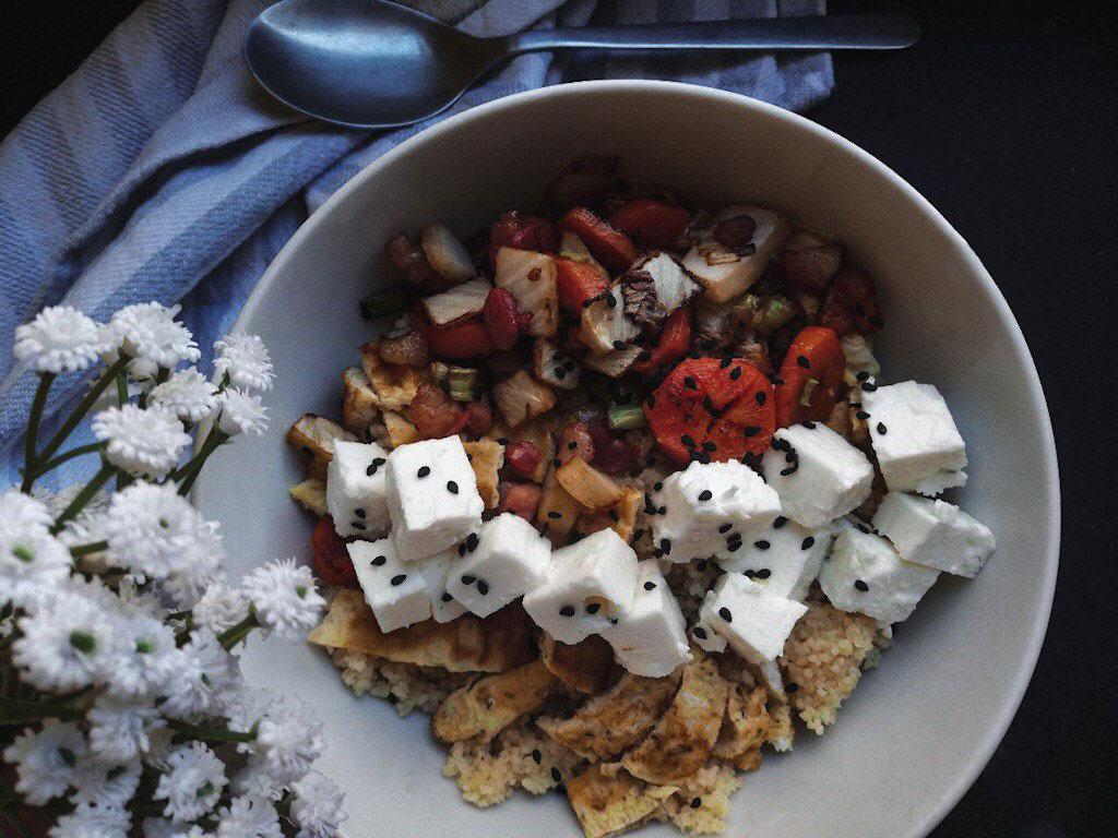 Cous cous alle verdure con dadini di pancetta dolce