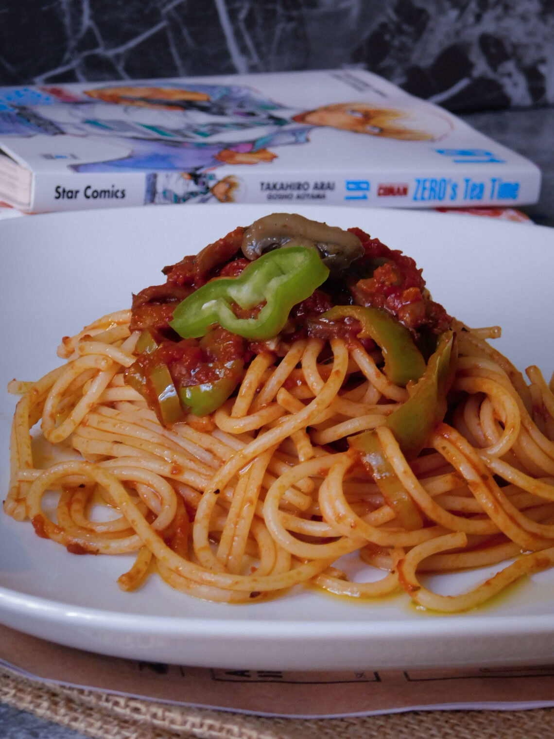 Spaghetti con funghi e friggitelli