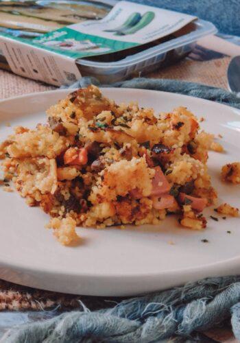 Cous Cous di verdure di stagione con uova, mortadella e spezie